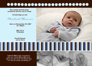 Little Ladybug Designs baby boy birth announcements