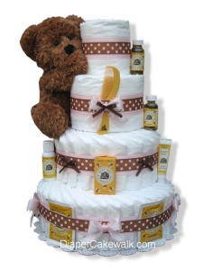Strawberry Mocha Diaper Cake by Diaper Cakewalk